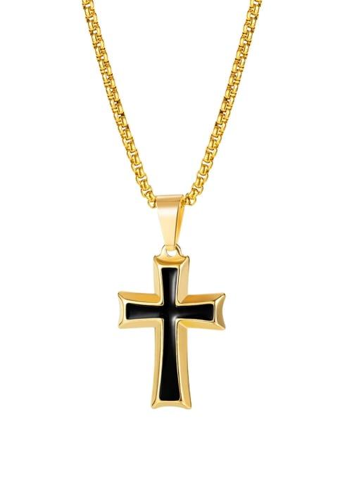 [golden pendant chain 4*70cm] Titanium Steel Enamel Cross Hip Hop Regligious Necklace